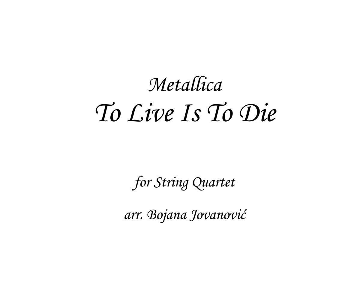 To live is to die Metallica Sheet music