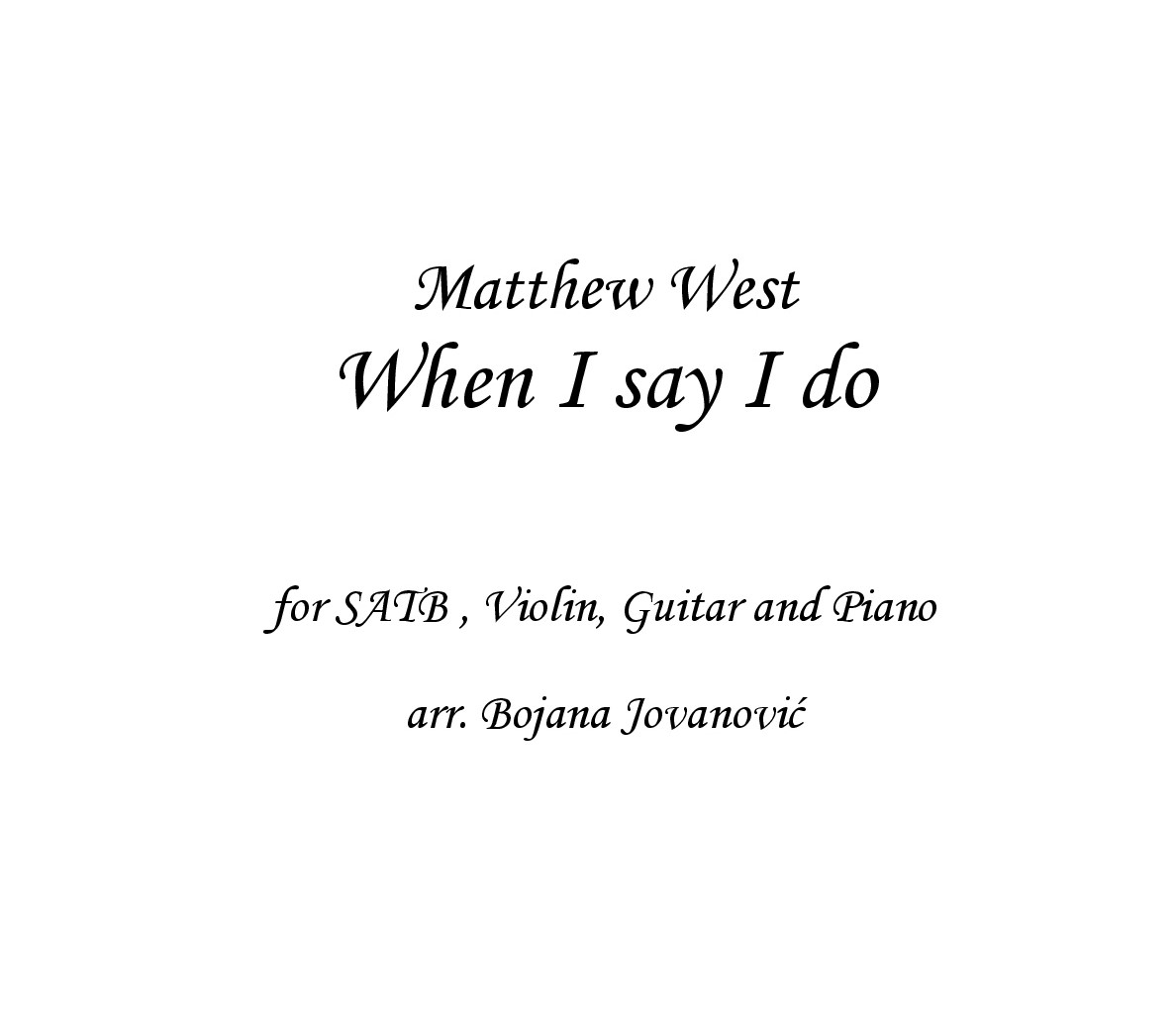 When I say I do Matthew West Sheet music