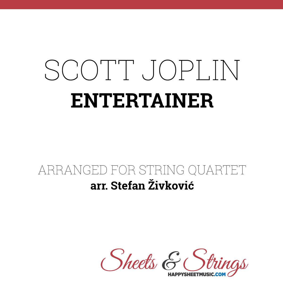 Scott Joplin Entertainer Sheet Music for String Quartet
