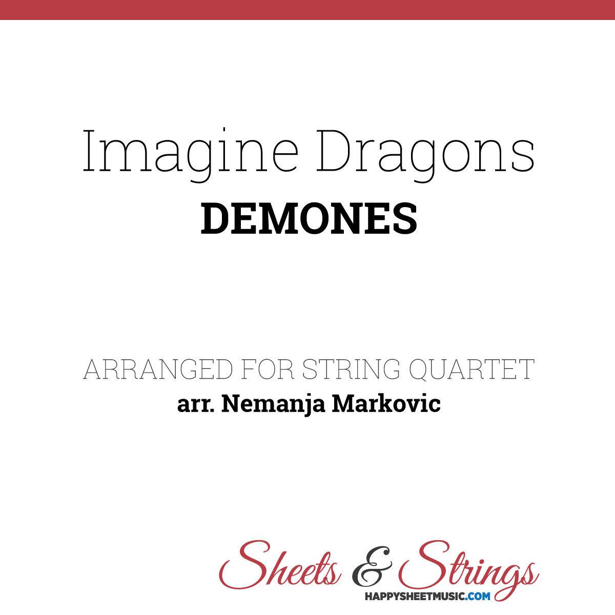 Imagine Dragons Demons Sheet Music for String Quartet