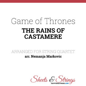 The Rains of Castamere Game of Thrones Sheet Music for String Quartet