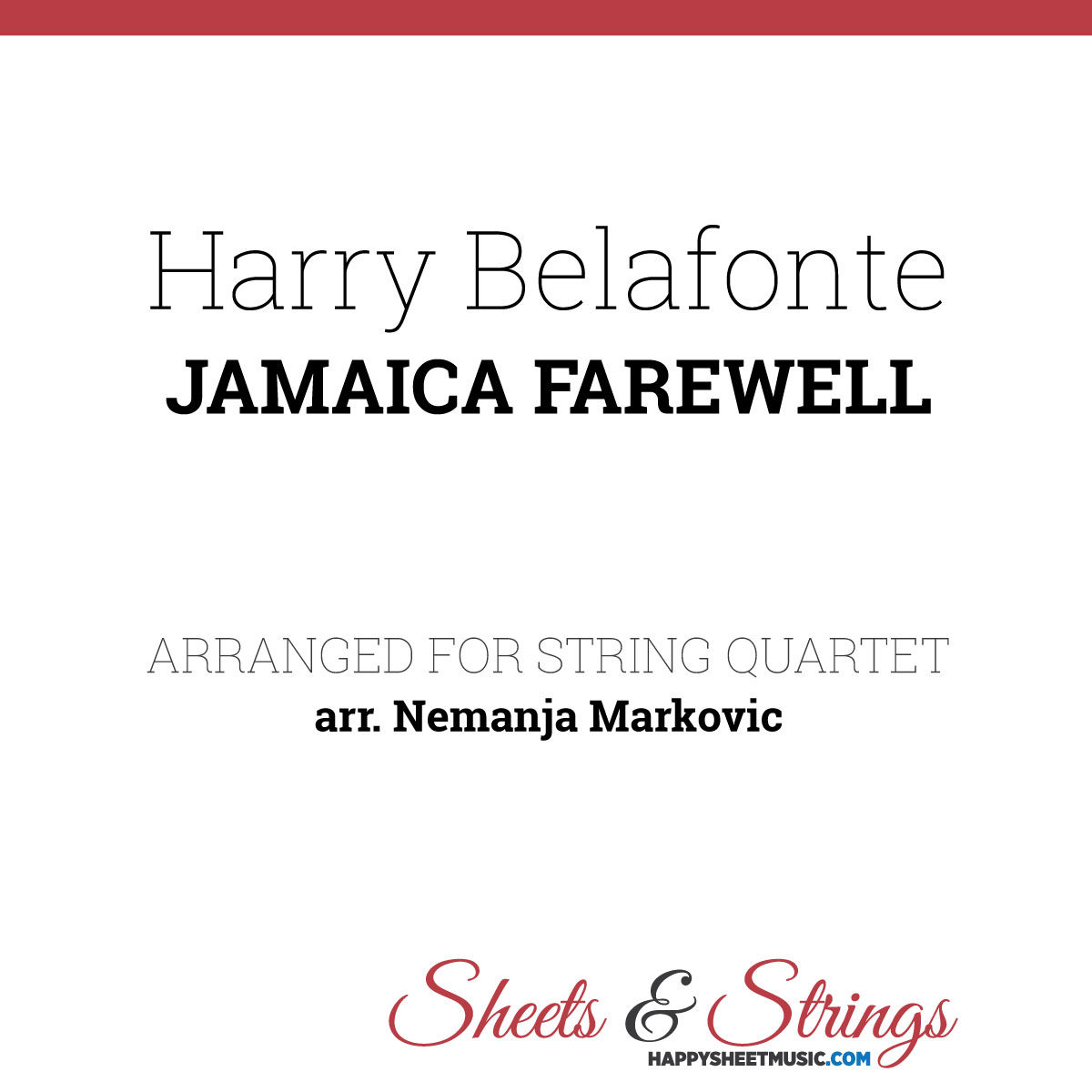 Harry Belafonte - Jamaica Farewell - Sheet Music for String Quartet - Music Arrangement for String Quartet