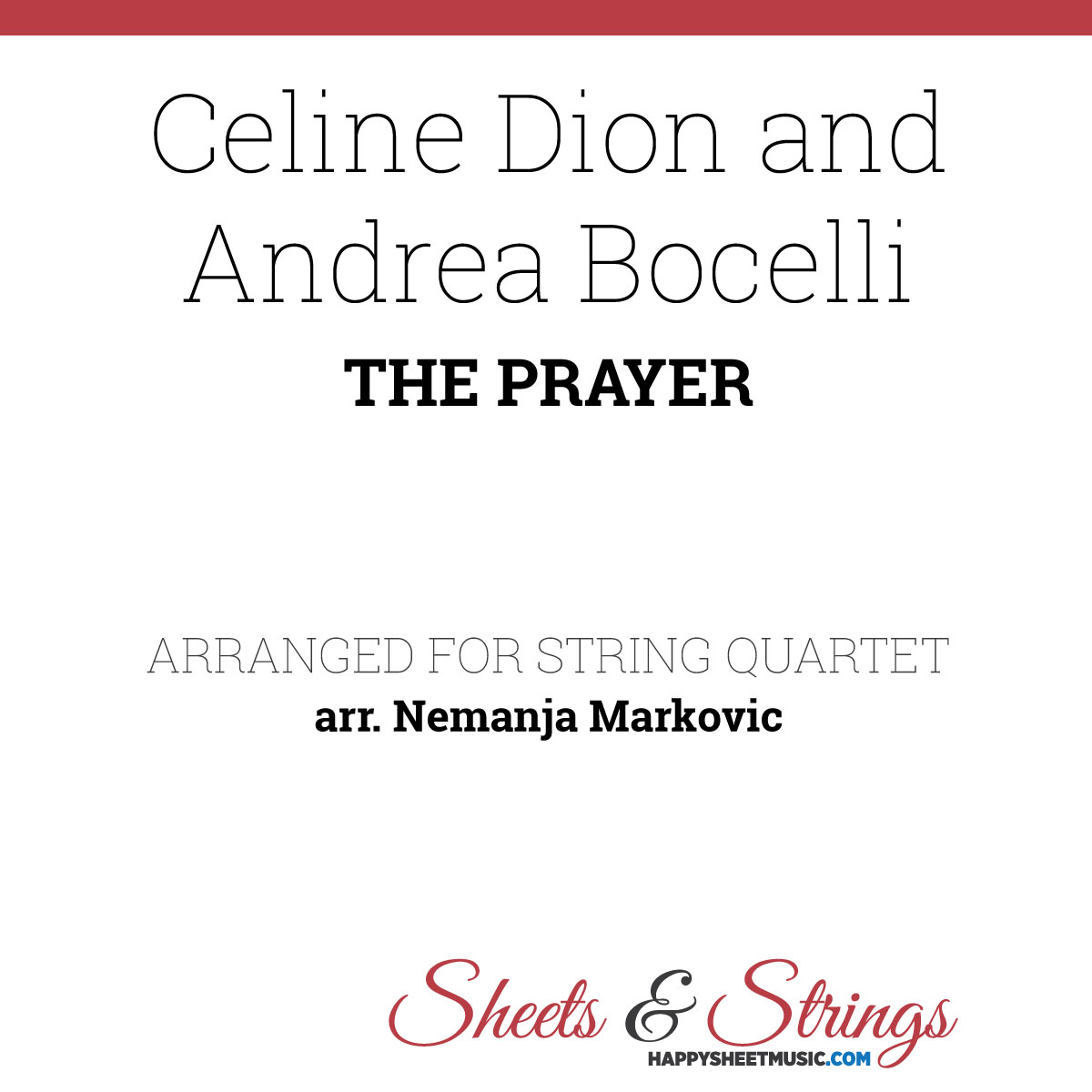 celine dion and andrea bocelli - the prayer - sheet music for string quartet  happy sheet music